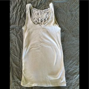 American Eagle white lace backed ribbed tank top.